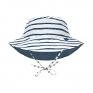 Omkeerbaar UV zonnehoedje met streepjes - Sun protection bucket hat stripes navy