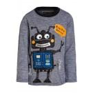Fijn blauw gestreepte t-shirt met robot- beep biep