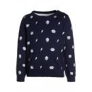 Blauwe sweater met ruimtewezens - medieval blue