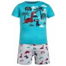 Tweedelige pyjama met dino  - pyjama turquoise