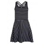 Donkerblauw zomer kleed met witte strepen