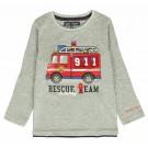 Grijze t-shirt met brandweerwagen