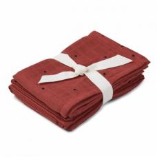 Set van 2  terracottakleurige tetradoeken met stipjes (hydrofiel) - Hannah muslin cloth 2 pack classic dot rusty