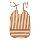 Afwasbare Xl slab met mosterdgele strepen - lai bib mustard/ creme (Geboortelijst Henri H.)