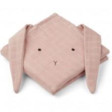 Set van 2 oud roze tetradoeken (hydrofiel) met konijn - Hannah muslin cloth 2 pack rabbit rose