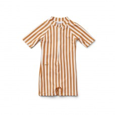 UV- Max swimsuit stripe mustard
