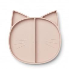 Oud roze 4-vaks siliconen bord kat - Maddox multi plate rose