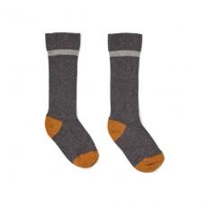 Antraciete kniekousjes met lichtgrijze boord  - Mia knee socks grey melange 2 pack