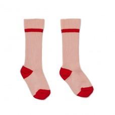 Oud roze kniekousjes met rode streep  - Mia knee socks solide rose 2 pack