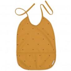 Afwasbare mosterdgele slab met stippen   - Lai bib classic dot mustard