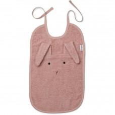 Oud roze XL slab met konijnensnoetje en lange oren- Theo terry bib rabbit rose