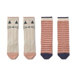 Kniekousjes 2-pack - Sofia cat/stripe coral blush