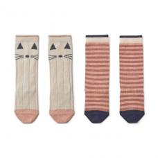 Kniekousjes 2-pack - Sofia cat/stripe coral blush