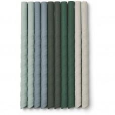 Set van 10 siliconen rietjes - Timoti straw set 10-pack green multi mix