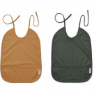2 Afwasbare Xl slabben - Lai bib 2-pack mustard/hunter green