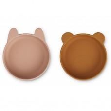 Set van 2 siliconen kommetjes - Vanessa silicone bowls 2-pack dark rose/mustard mix