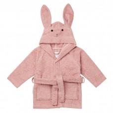 Oudroze badjas met konijntje - Lily bathrobe rabbit rose