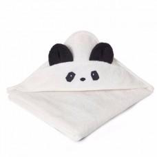 Witte XL badcape met pandasnoetje en oortjes - augusta towelpanda creme de la creme