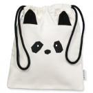 Omkeerbaar wit zakje met pandasnoetje - lunch bag panda Lola