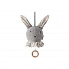 Licht grijs gebreide muziekmobiel konijn - Angela music mobile rabbit grey melange
