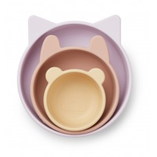 Set van 3 siliconen kommetjes - Eddie silicone bowls 3-pack light lavender multi mix