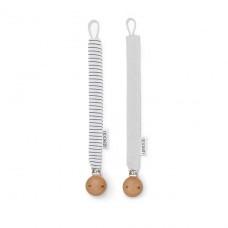 Set van 2 speenkoorden : grijs en wit gestreept - crisp white stripe/ dumbo grey