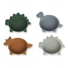 Set van 4 siliconen snackkommetjes - Iggy silicone bowls dino/blue multi mix