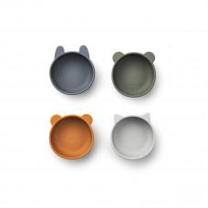 Set van 4 siliconen snackkommetjes - Iggy silicone bowls blue mix