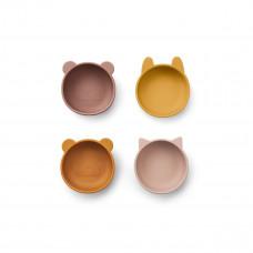 Set van 4 siliconen snackkommetjes - Iggy silicone bowls rose mix
