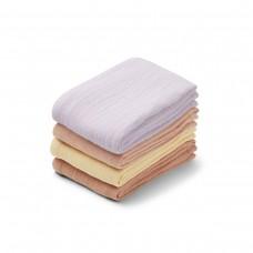 Set van 4 gekleurde tetradoeken  - Leon muslin cloth 4-pack light lavender multi mix