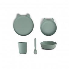 Muntgroen eetsetje - Paul tableware set - rabbit peppermint