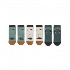 Set van 3 kousjes met print - Silas cotton socks 4-pack space blue mix