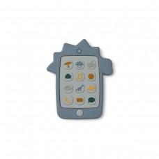 Siliconen telefoon bijtspeeltje - Thomas mobile phone dino blue wave
