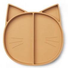 Caramelkleurig 4-vaks siliconen bord cat - Maddox multi plate cat mustard
