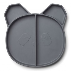 Antraciet 4-vaks siliconen bord panda - Maddox multi plate panda stone grey