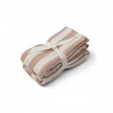 Set van 2 gekleurde tetradoeken  - Leah muslin cloth 2-pack stripe: pale tuscany/creme de la creme