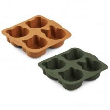 2-pack silicone bakvormpjes - Mariam cake pan hunter green/mustard mix