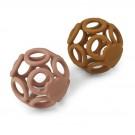 Set van 2 siliconen bijtspeeltjes - Jasmin teether ball 2 pack dark rose/mustard mix