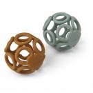 Set van 2 siliconen bijspeeltjes - Jasmin teether ball 2 pack mustard/peppermint mix