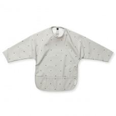 Afwasbare grijze mouwslab met stippen  - merle cape bib classic dot dumbo grey