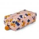Omkeerbare toiletzak met bloemetjes of stipjes  - Beate toiletry bag flower bomb rose (Geboortelijst Odette J.)