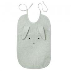 Muntgroene XL slab met konijnensnoetje en lange oren- Theo terry bib rabbit dusty mint
