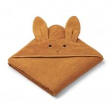 Mosterdgele XL badcape met  konijnensnoetje en langeoortjes - augusta towel rabbit mustard