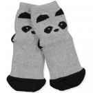 Grijze antislip sokjes panda- Nellie anti slip panda grey melange - maat 17/18 - 0/6m (Geboortelijst Odette J.)