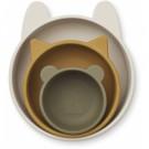 Set van 3 siliconen kommetjes - Eddie silicone bowls 3-pack sandy khaki multi mix