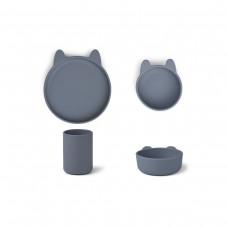 Silicone eetsetje konijn - Cyrus silicone junior set rabbit blue wave