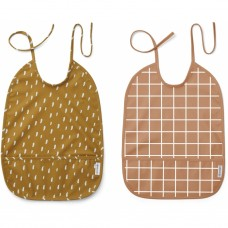 2 Afwasbare XL slabben - Lai bib print 2-pack check/graphic stroke golden caramel mix