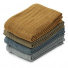 Set van 4 gekleurde tetradoeken - Leon muslin cloth whale blue multi mix