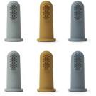 Set van 6 vingertandenborstels - Simon finger toothbrush 6-pack blue multi mix