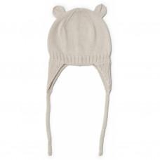 Beige gebreide muts met oortjes - Violet bonnet sandy